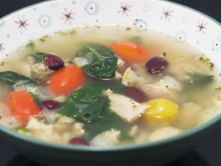 Turkey, Spinach and Red Bean Soup -