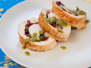 Mascarpone and Cranberry Stuffed Turkey Roll -