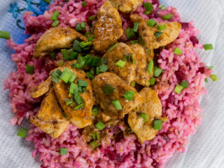 Chicken Curry and Beetroot Rice -