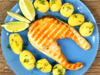 Grilled Salmon with New Potatoes -