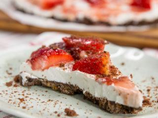 Strawberry Chocolate-Crusted Cheesecake -