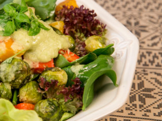 Roasted Veggie Salad Topped with Avocado Dressing -