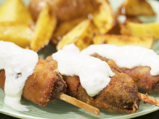 Bacon-Wrapped Kebabs with Tzatziki Sauce -