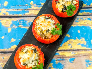 Quinoa and Cheese Filled Roasted Tomatoes -