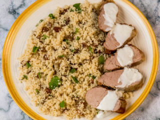 fried-and-baked-pork-tenderloin-with-couscous