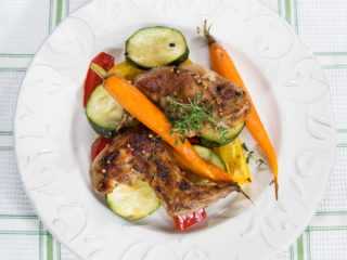 Rabbit Legs with Veggies -