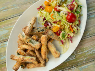 Roasted Zucchini Sticks with Cabbage and Veggie Salad -