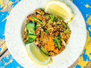 Soy Sauce Marinated Salmon with Quinoa and Mushrooms -