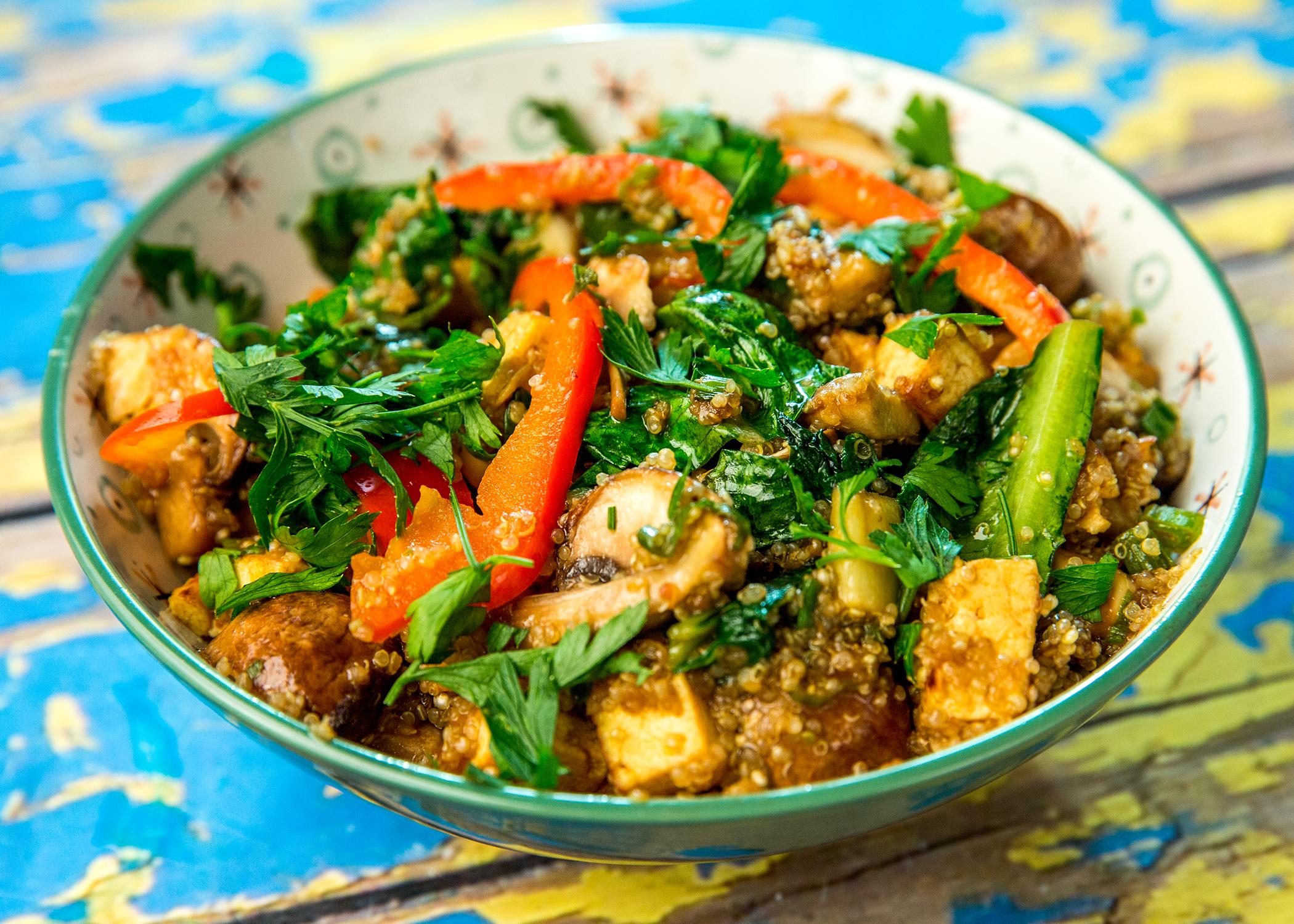 Quinoa, Tofu, and Mushroom Bowl -