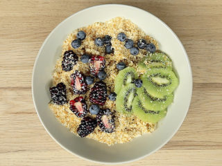 Quinoa Fruit Salad with Toasted Coconut Flakes -