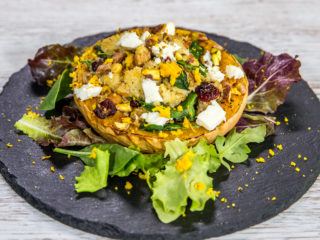 Roasted Squash Filled with Couscous and Chickpeas -