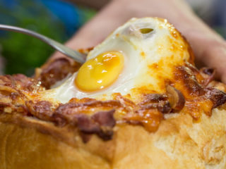 Pork Stuffed Bread with Egg on Top -