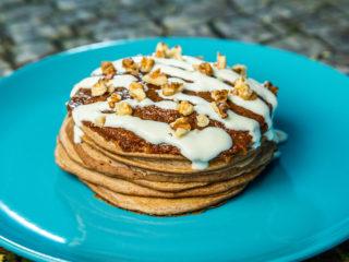 Cornflake Pancakes Topped with Squash Puree