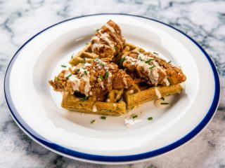 chicken-topped-hummus-waffles