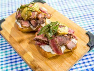 Steak and Caper Mayonnaise Sandwich