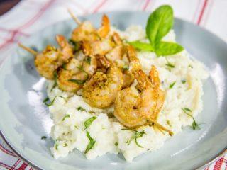 Shrimp Skewers and Cauliflower Mash
