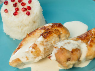 chicken breast with heavy cream, garlic, and ginger sauce