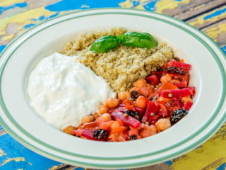 veggie stew with quinoa and yogurt