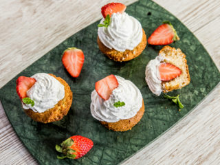 strawberry and whipped cream muffins