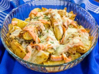 Cheesy Salmon and Baked Potatoes