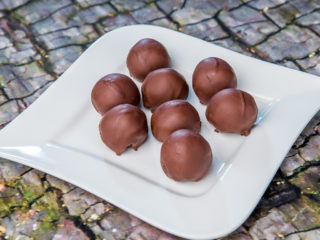Chocolate-Glazed Peanut Date Balls