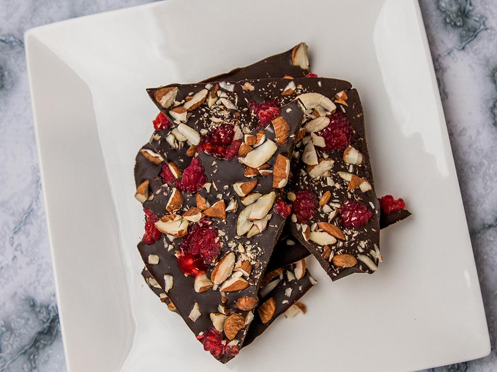 Raspberry Almond Chocolate Bark