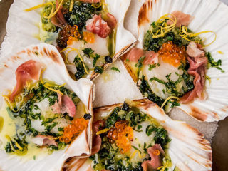 Scallops with Herb Butter and Prosciutto