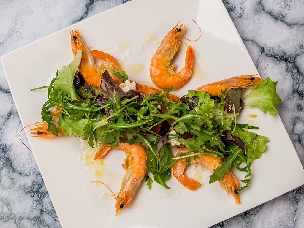 Prawn and Salmon Salad with Horseradish Sauce