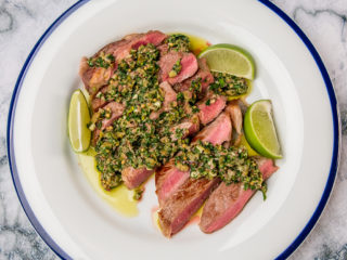 Rib-Eye Steak with Parsley and Mint Salsa