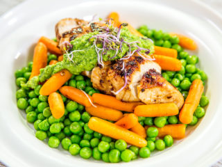 Chicken with Veggies and Mint Sauce