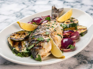 grilled sea bream with veggies