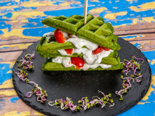 Spinach Oatmeal Waffles