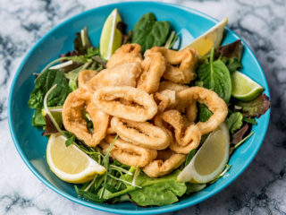 crispy fried squid with salad