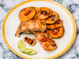 ginger baked salmon with sweet potatoes