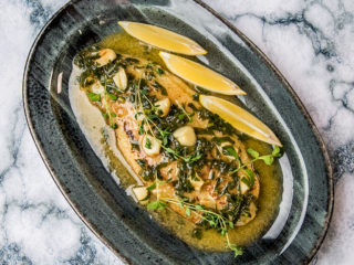Pan-Fried Sea Bass with White Wine Sauce