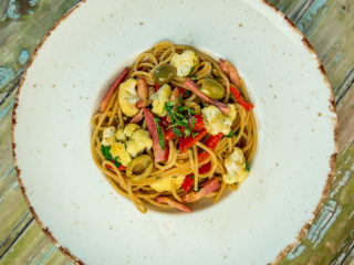Spaghetti with Ham and Cauliflower