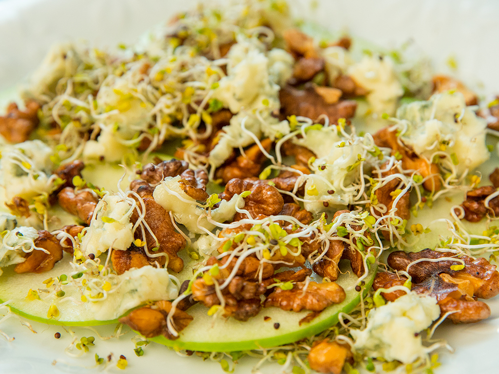 Cheesy Fried Walnuts, Apple, and Broccoli Sprouts