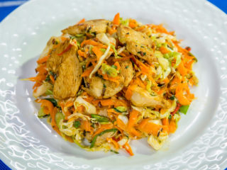 hot and spicy chicken breast with cabbage salad