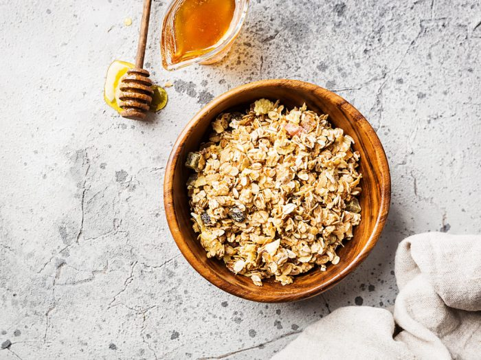 Homemade granola with oats, honey, and nuts
