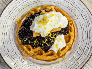 Waffles with Blueberries and Ricotta Cream