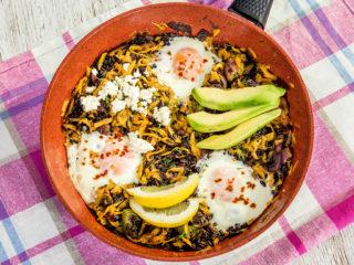 Egg, Sweet Potato, and Black Rice Skillet -