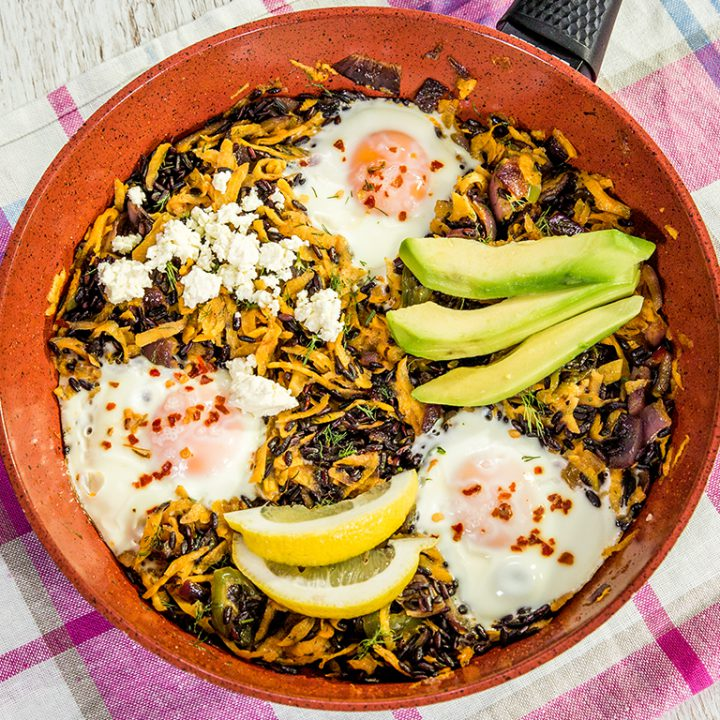 Egg, Sweet Potato, and Black Rice Skillet