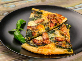 Cheesy Sausage and Spinach Pizza