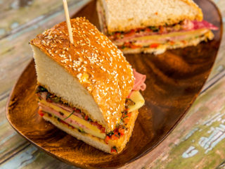 Mortadella and Cheese Muffuletta Sandwich