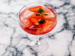 lemon and strawberry rose cocktail
