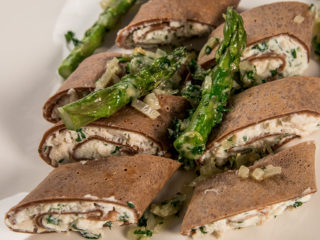 chicken and cheese crepes with asparagus