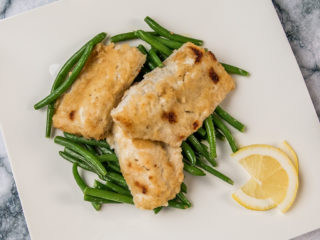 crunchy nile perch with green beans