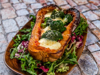 broccoli and cheese stuffed butternut squash