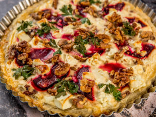 walnut, beetroot and goat cheese tart