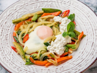 Warm Veggie Salad with Egg on Top
